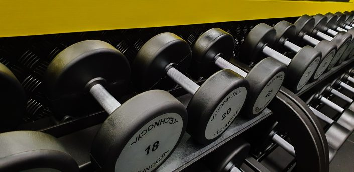 Image of gym free weights at ALLFIT 24/7 Fitness Gym Takapuna